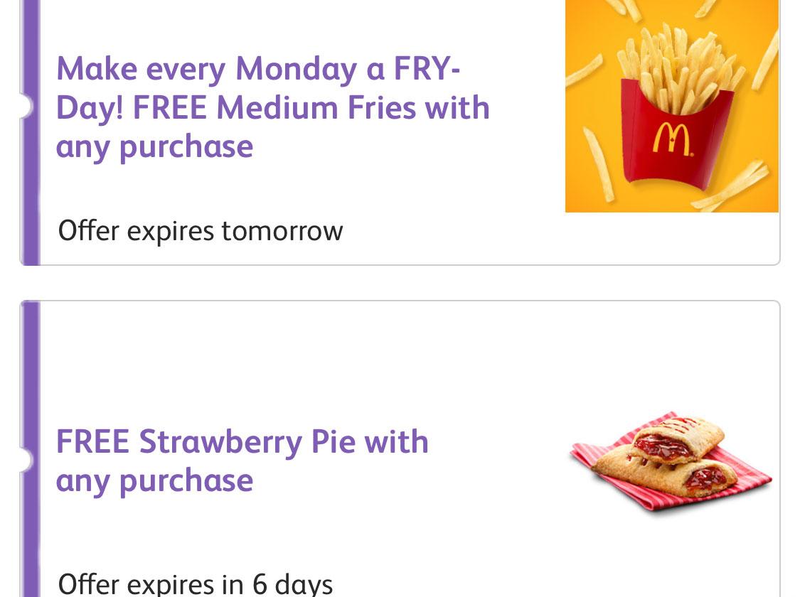 McDonald's:免費士多啤梨批