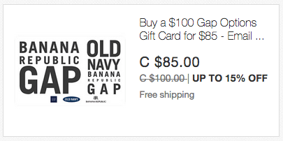 ebay.ca:$100 Banana Republic/Gap/Old Navy礼券(Gift Card)只卖$85