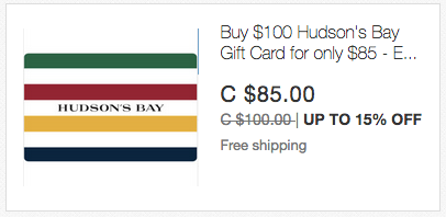ebay.ca:$100 Hudson's Bay Gift Card只卖$85