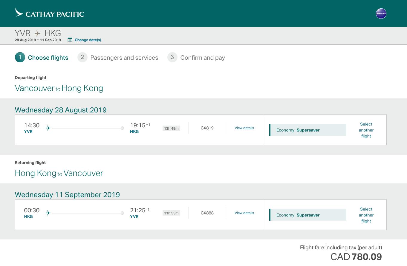 國泰航空:來回溫哥華及香港機票只賣加幣$780(連稅)