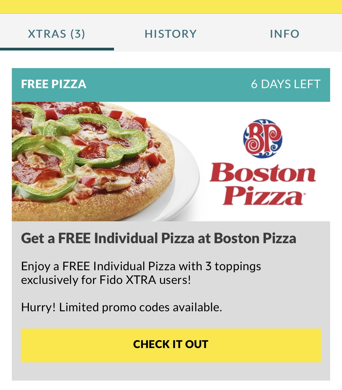 Fido:免費Boston Pizza 3選項8吋Pizza