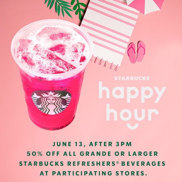 Starbucks:任何Refresher可享半價優惠
