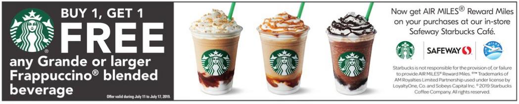 Starbucks:任何Frappuccino可享買一送一優惠 (只限Safeway內的Starbucks)