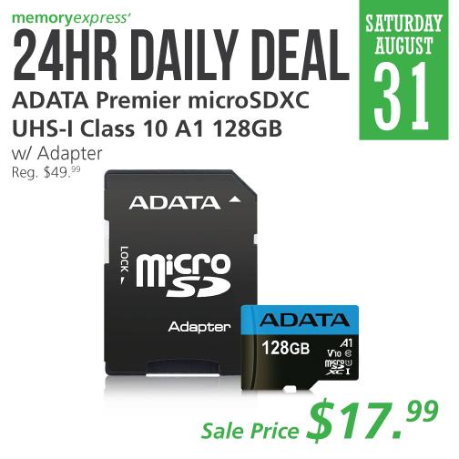 Memory Express:ADATA 128GB MicroSDXC UHS-1只賣$17.99