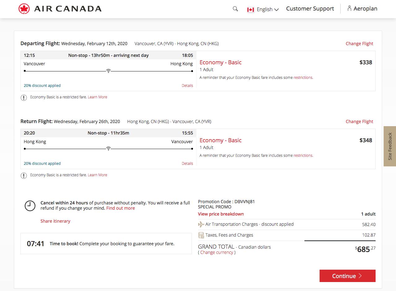 Air Canada:全球八折優惠
