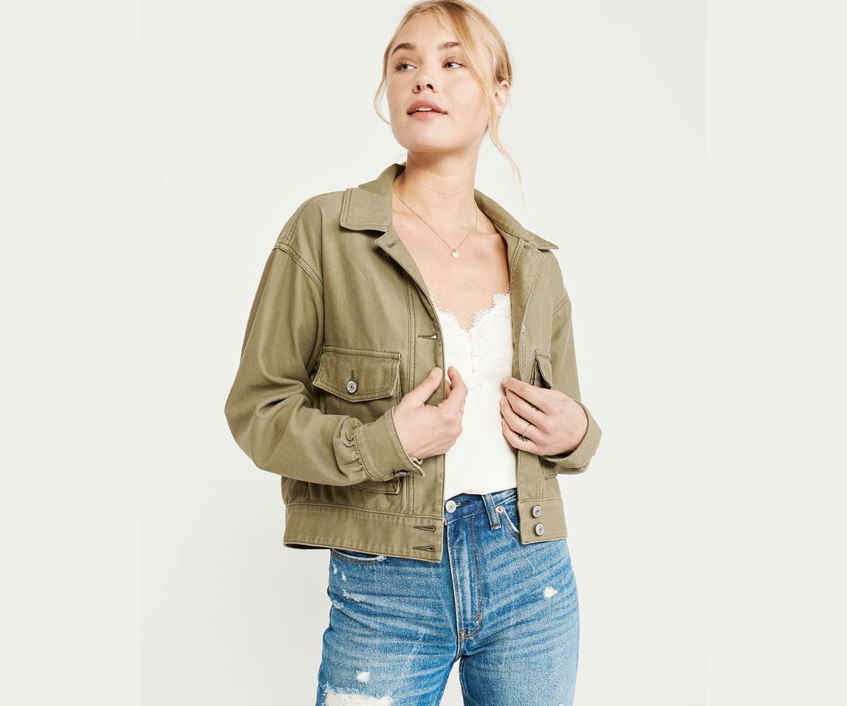 A&F:女裝綠色牛仔褸只賣$26.60