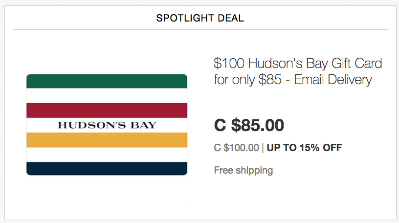 ebay.ca:$100 Hudson's Bay Gift Card只賣$85