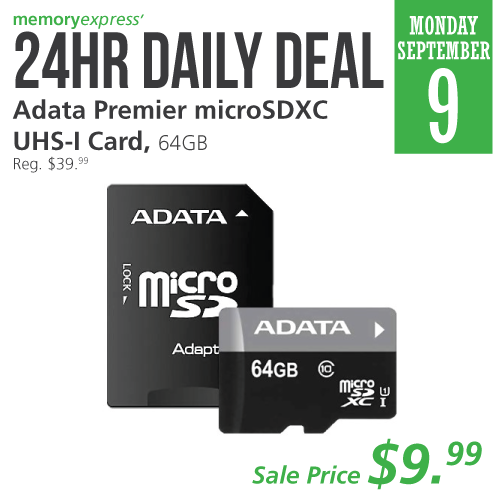 Memory Express:ADATA 64GB MicroSDXC UHS-1只賣$9.99