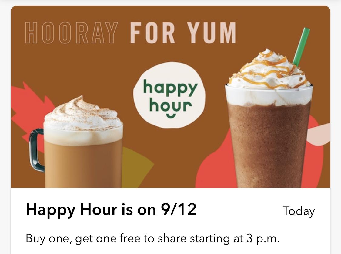 Starbucks:任何Espresso/Frappuccino可享買一送一優惠 (只限Starbucks會員)