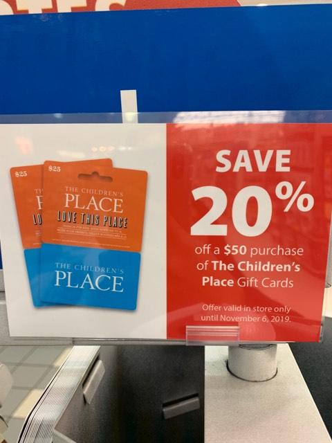 London Drugs:購買$50 The Children's Place禮券(Gift Card)即可獲八折優惠