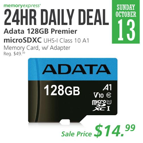 Memory Express:ADATA 128GB MicroSDXC UHS-1 + Adapter只卖$14.99