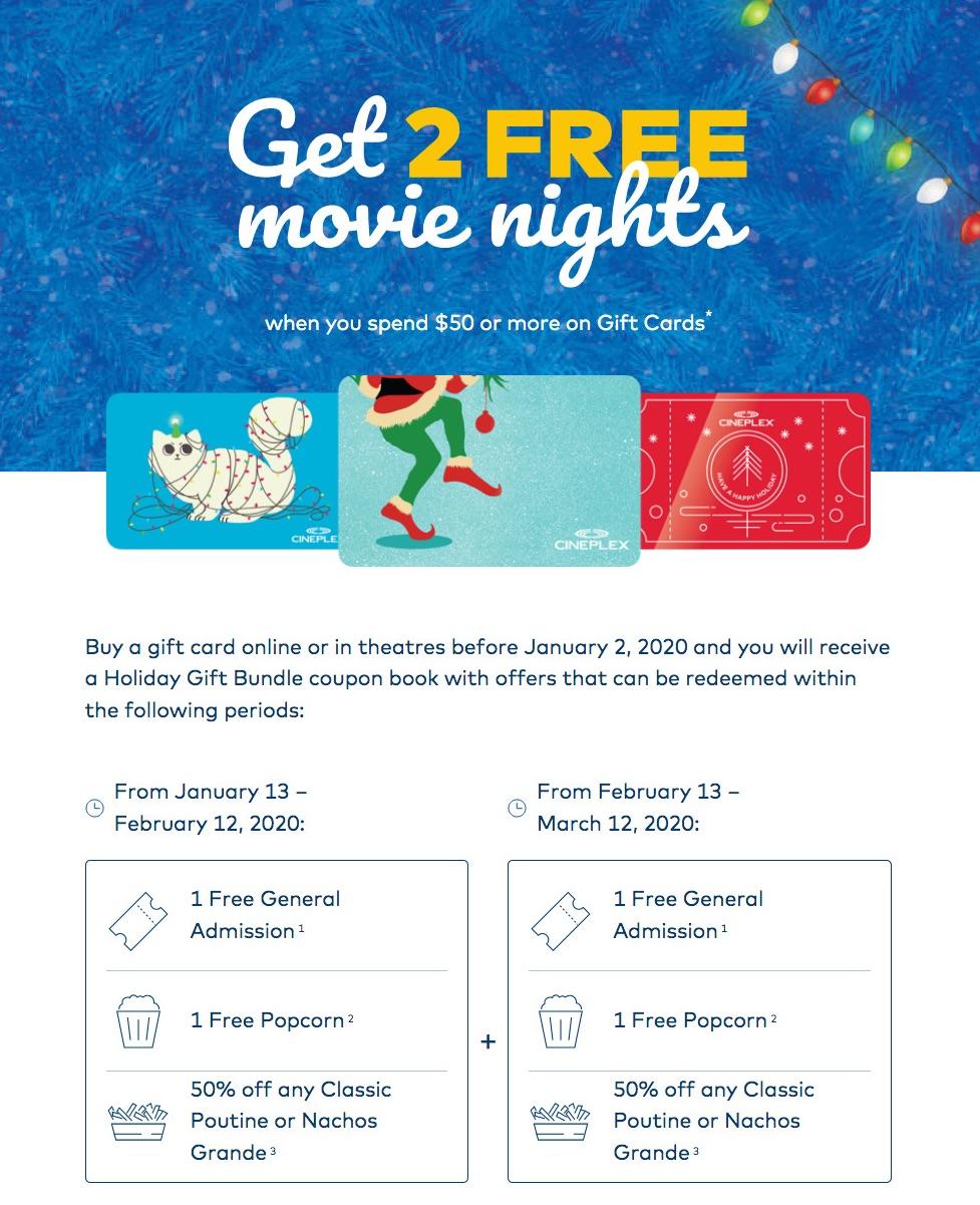 Cineplex:購買$50 Gift Card,可免費獲贈兩張戲飛+兩客爆谷