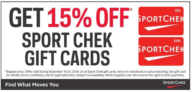 Rexall:购买Sport Chek 礼券(Gift Card),即可获八五折优惠