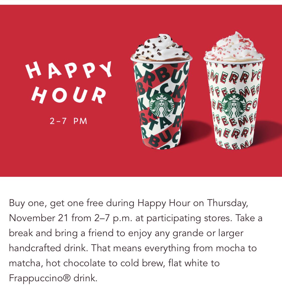 Starbucks:任何手调饮品可享买一送一优惠 (只限Starbucks会员)