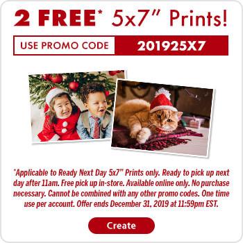 Walmart:免费两张5×7 相片冲晒