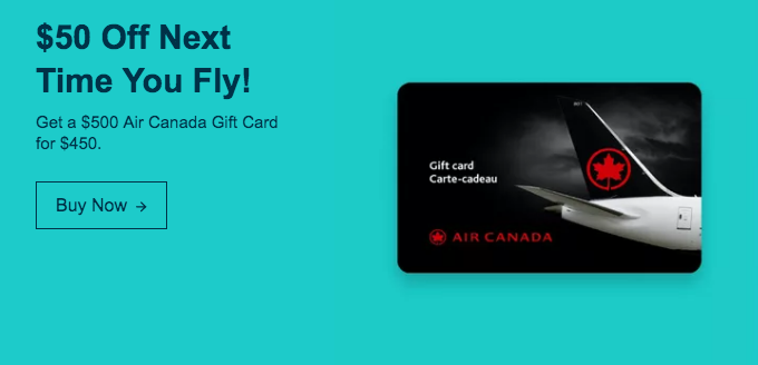 ebay.ca:$500 Air Canada Gift Card只卖$450