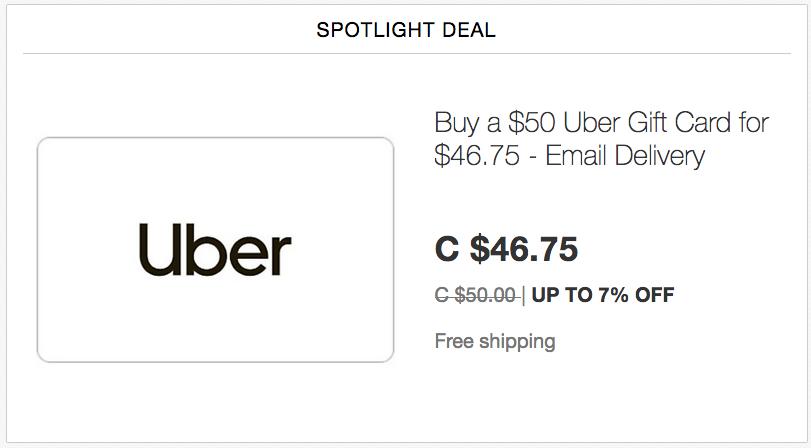 ebay.ca:$50 Uber礼券(Gift Card)只卖$46.75