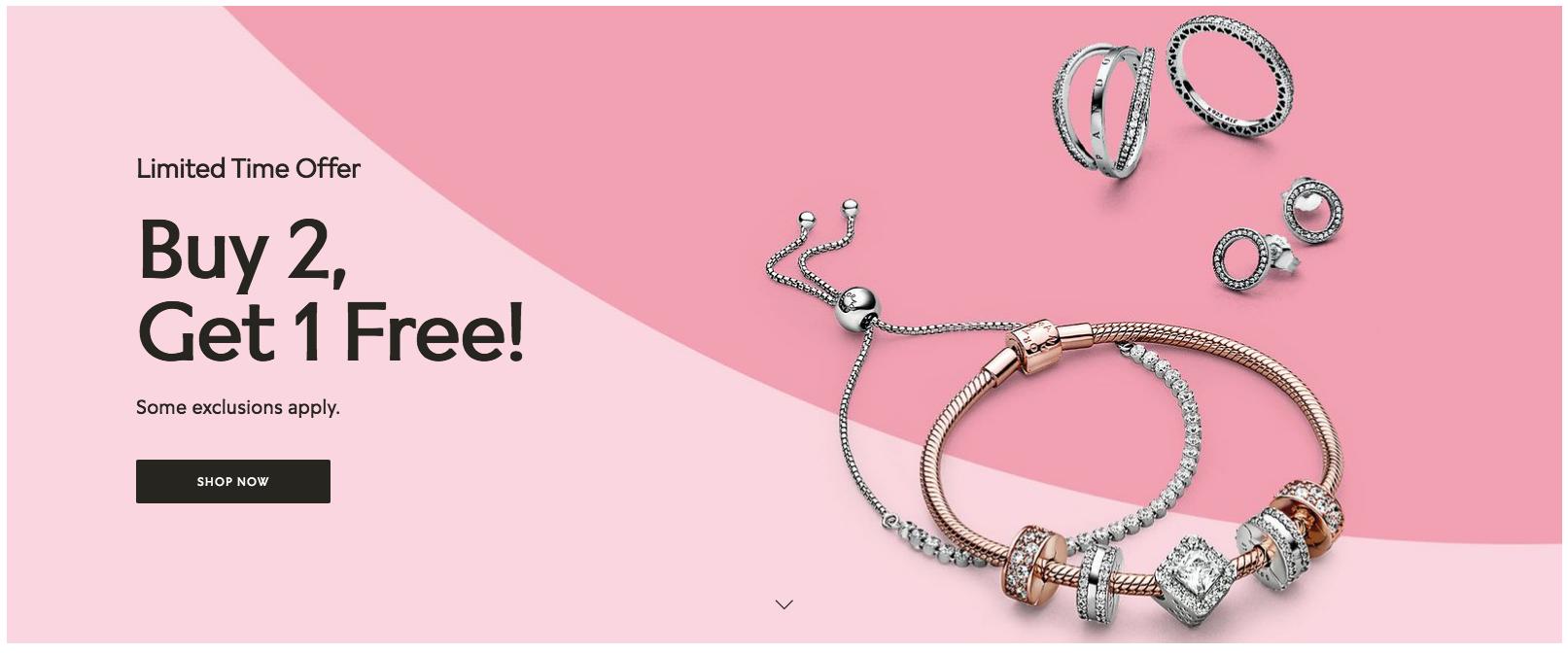Pandora:任何產品買二送一優惠
