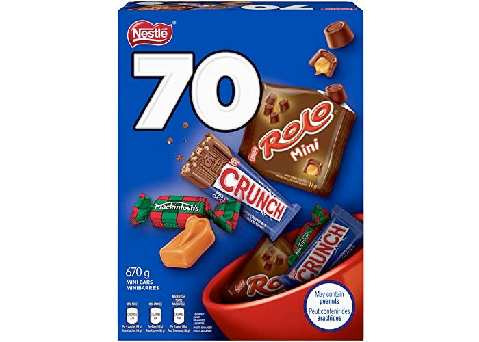Amazon:NESTLÉ Assorted Chocolate & Candy (ROLO, Crunch, MACKINTOSH'S) (70 Mini Bars)只賣$6.99