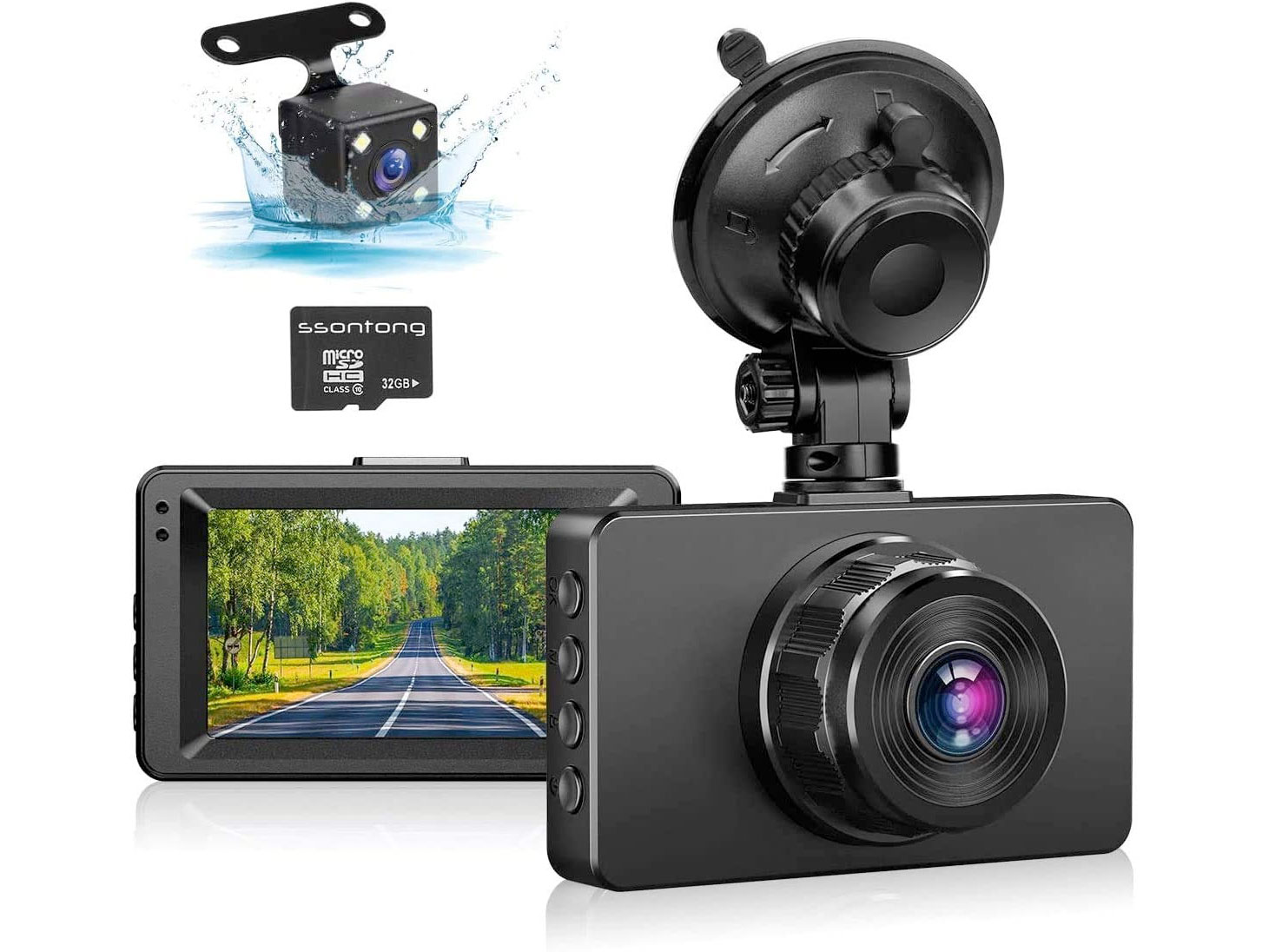 Amazon:Dual Dash Cam Front and Rear前後雙鏡行車記錄儀 (with SD Card)只賣$41.99
