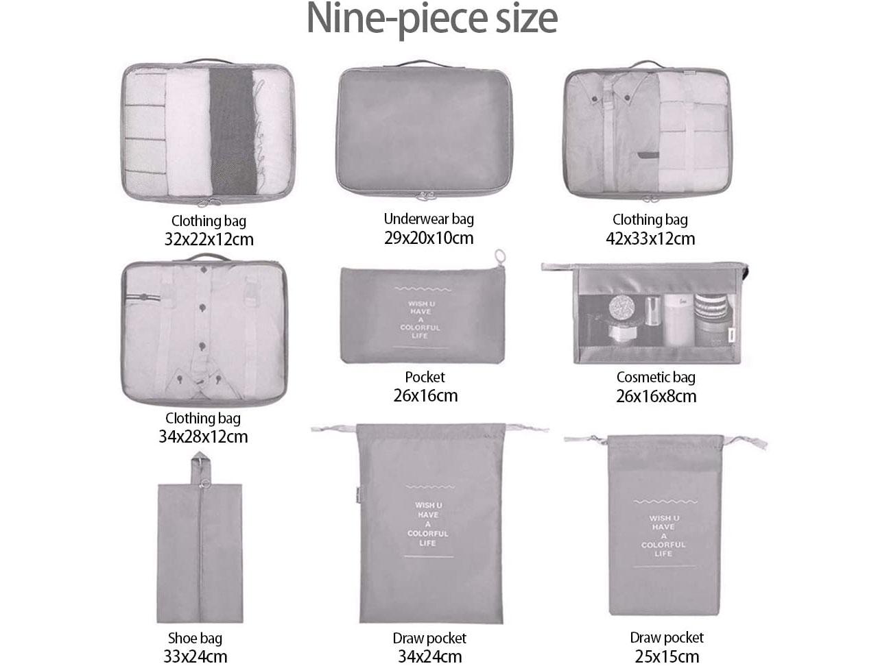 Amazon:9 PCS Travel Packing Organizers只賣$9.49