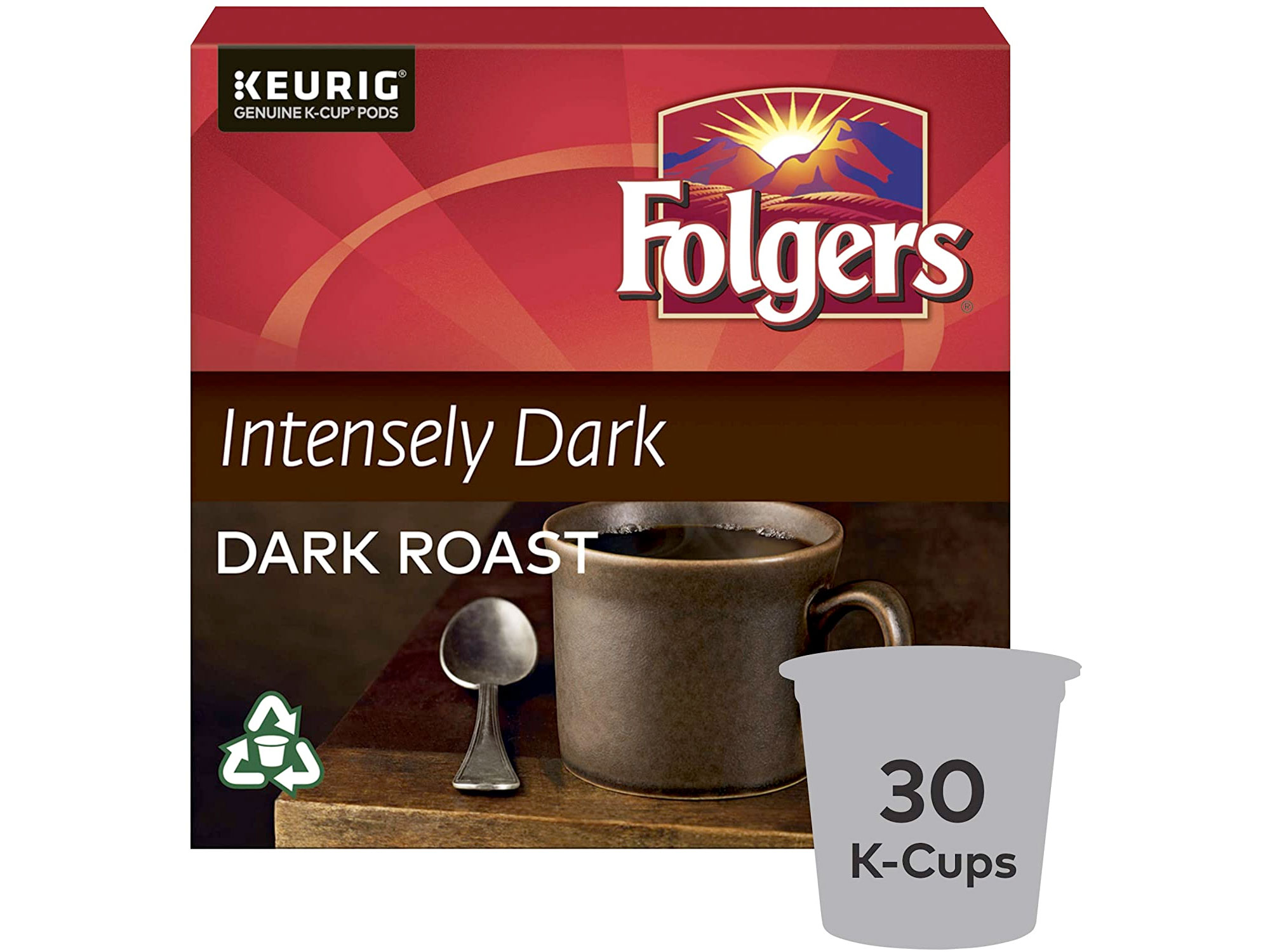 Amazon:Folgers Intensely Dark K-Cup Coffee Pods (30 Count)只賣$11.48