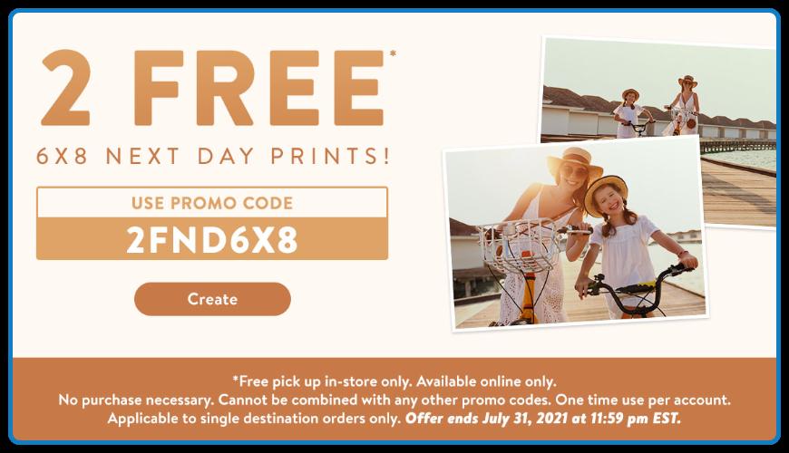 Walmart:免费两张6×8 相片冲晒