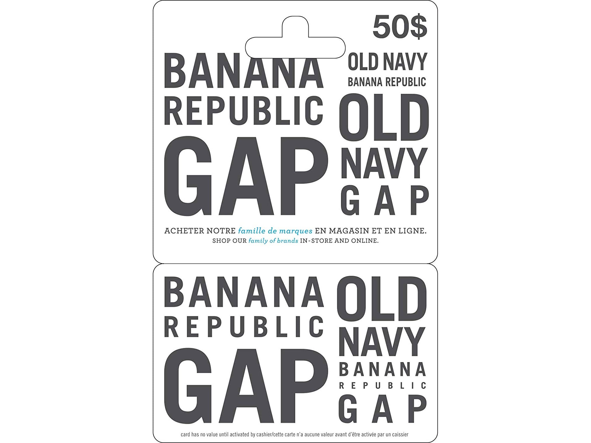 Amazon:購買Gap/Banana Republic/Old Navy $50禮券(Gift Card),即可獲八折優惠